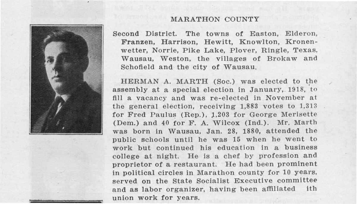 Herman Marth Biography in Wisconsin Blue Book, 1919